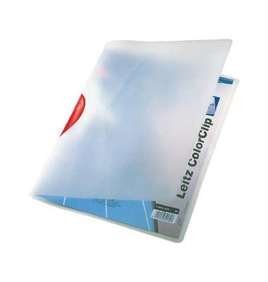 Klemmhefter ColorClip Magic 4175-00-25, A4, für ca. 30 Blatt, Kunststoff, transparent/rot