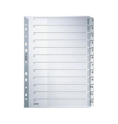 Kartonregister 4325 1-12 A4 160g graue Taben 12-teilig