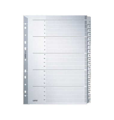 Kartonregister 4326-00-00 1-20 A4 160g graue Taben 20-teilig
