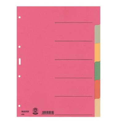Kartonregister 4358-00-00 blanko A4 230g farbige Taben 6-teilig