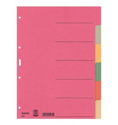 Kartonregister 4358 blanko A4 230g farbige Taben 6-teilig
