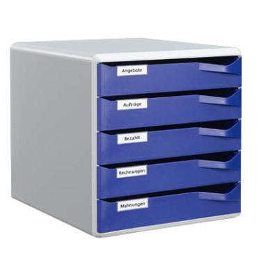 Schubladenbox 5280 Post-Set lichtgrau/blau 5 Schubladen geschlossen