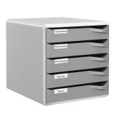 Schubladenbox Post-Set 5280-00-89 lichtgrau/dunkelgrau 5 Schubladen geschlossen