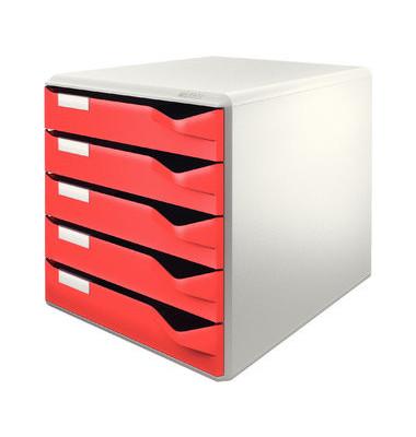 Schubladenbox Post-Set 5280-00-25 lichtgrau/rot 5 Schubladen geschlossen
