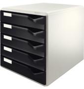 Schubladenbox 5280 Post-Set lichtgrau/schwarz 5 Schubladen geschlossen
