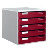 Schubladenbox 5280 Post-Set lichtgrau/bordeaux 5 Schubladen geschlossen