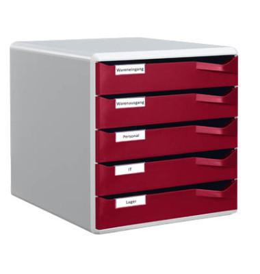 Schubladenbox Post-Set 5280-00-28 lichtgrau/bordeaux 5 Schubladen geschlossen