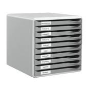 Schubladenbox 5281 Formular-Set lichtgrau/dunkelgrau 10 Schubladen geschlossen