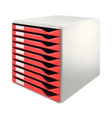 Schubladenbox lichtgrau/rot 10 Schubladen