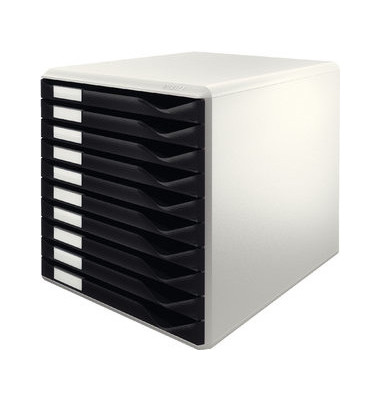Schubladenbox 5281 Formular-Set lichtgrau/schwarz 10 Schubladen geschlossen