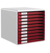 Schubladenbox 5281 Formular-Set lichtgrau/bordeaux 10 Schubladen geschlossen