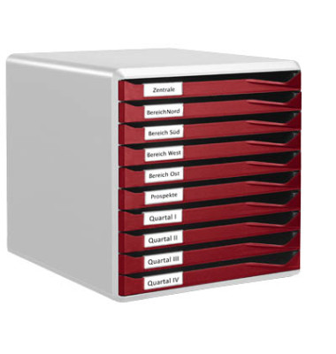Schubladenbox lichtgrau/bordeaux 10 Schubladen