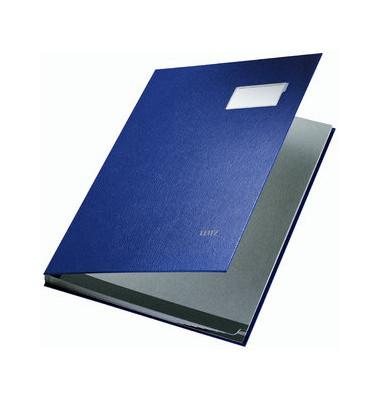 Unterschriftenmappe 5701 A4 Kunststoff blau mit Einsteckschild 10 Fächer