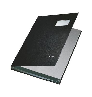 Unterschriftenmappe 5701 A4 Kunststoff schwarz mit Einsteckschild 10 Fächer