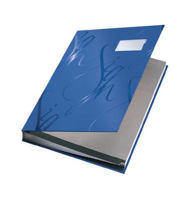 Unterschriftenmappe Design 5745 A4 Kunststoff blau mit Einsteckschild 18 Fächer
