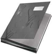 Unterschriftenmappe Design 5745 A4 Kunststoff grau mit Einsteckschild 18 Fächer