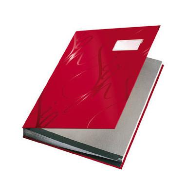 Unterschriftenmappe Design 5745 A4 Kunststoff rot mit Einsteckschild 18 Fächer