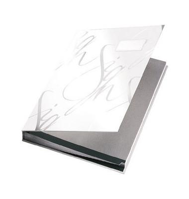 Unterschriftenmappe Design 5745 A4 Kunststoff weiß mit Einsteckschild 18 Fächer