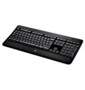 PC-Tastatur Wireless Illuminated Keyboard K800, kabellos (USB-Funk), leise, beleuchtet, Sondertasten,Unifying-Empfänger, schwar