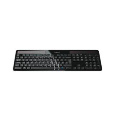 PC-Tastatur K750 920-002916, kabellos (USB-Funk), solarbetrieben, Sondertasten, Unifying-Empfänger, schwarz