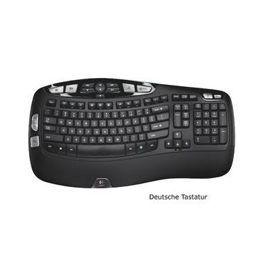 PC-Tastatur K350, kabellos (USB-Funk), Unifying-Empfänger, schwarz