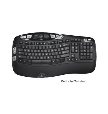 Tastatur K350 Cordl. Keyboard schwarz for Business USB 2.0
