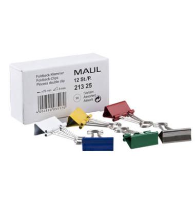 Foldbackklammern 213 25 99, 25mm, Metall farbig sortiert, 12 Stück