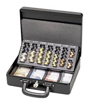 Geldkassette mit Zähleinsatz schwarz 300 x 245 x 93mm