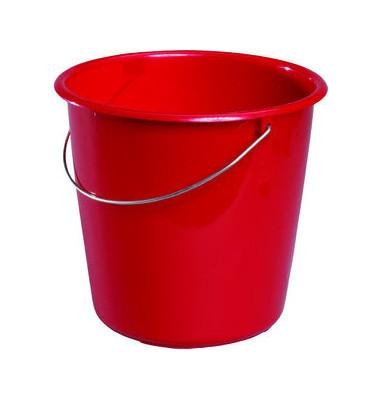 Eimer 10 Liter rot Kunststoff mit Metallbügel