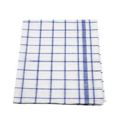 Geschirrtücher kariert blau/weiß Halbleinen 50 x 70 cm 10 Stück