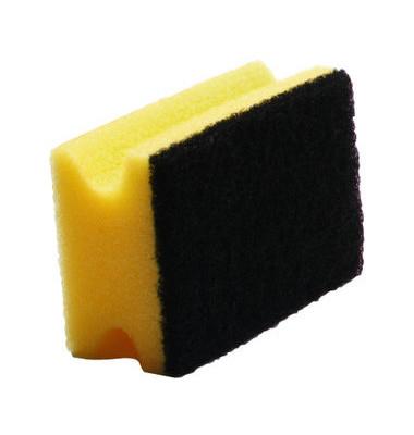 Reinigungsschwamm extra robust Griffleiste gelb/schwarz 9,5 cm 10 Stück
