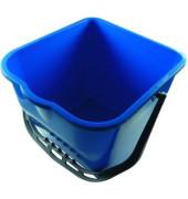 Eimer 15 Liter blau rechteckig mit Ausgießer / Kunststoffbügel