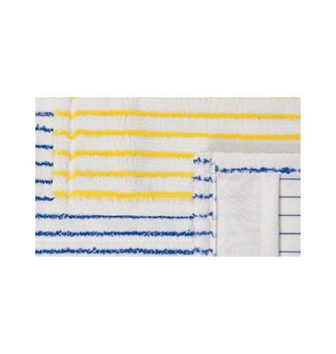 Wischmoppbezug Microborsten 40 x 13 cm Taschen weiß/blau