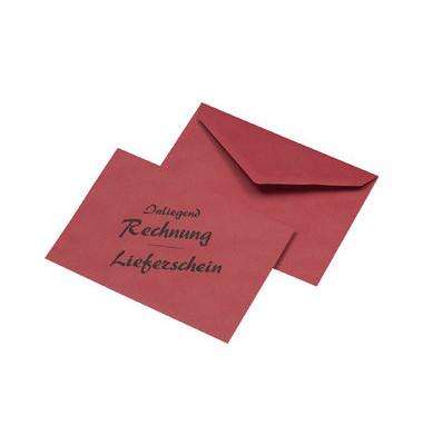 """Briefumschläge C6 ohne Fenster nassklebend """"Lieferschein/Rechnung"""" 75g rot 1000 Stück Recycling"""
