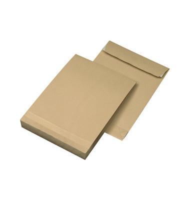 Faltentaschen C4 ohne Fenster 40mm Falte haftklebend 130g braun 250 Stück