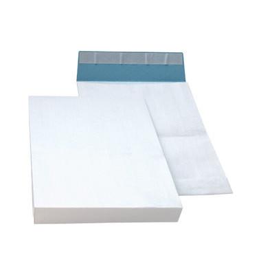 Faltentaschen B4 ohne Fenster 40mm Falte haftklebend fadenverstärkt weiß 100 Stück