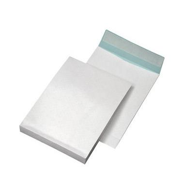 Faltentaschen B4 ohne Fenster 40mm Falte haftklebend fadenverstärkt 140g weiß 250 Stück