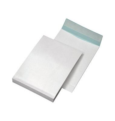 Faltentaschen B4 ohne Fenster 40mm Falte haftklebend weiß 250 Stück