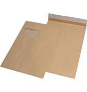 Faltentaschen C4 mit Fenster 20mm Falte haftklebend 120g braun 100 Stück
