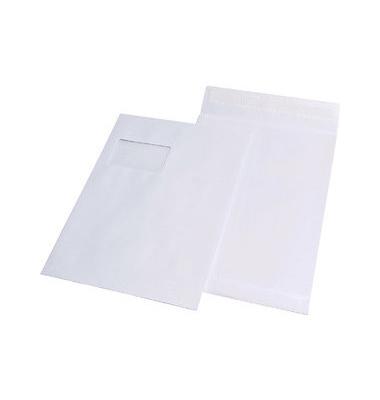 Faltentaschen C4 mit Fenster 20mm Falte haftklebend 120g weiß 100 Stück