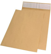 Faltentaschen E4 ohne Fenster 40mm Falte haftklebend 140g braun 100 Stück