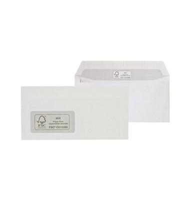 Briefumschläge Din Lang mit Fenster haftklebend 100g weiß 100 Stück