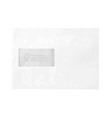Versandtaschen C5 mit Fenster haftklebend 100g weiß 500 Stück