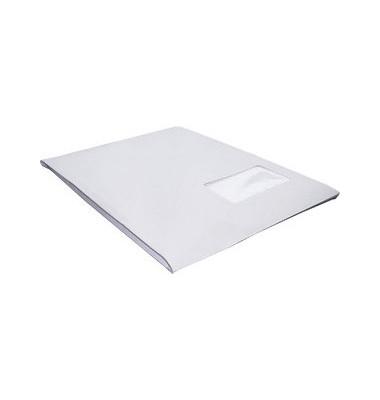Faltentaschen C4 mit Fenster 20mm Falte haftklebend 120g weiß 200 Stück