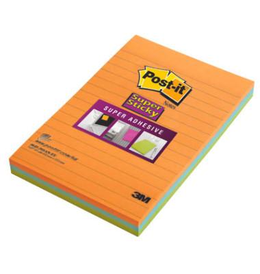 Haftnotizen SuperSticky 102 x 152mm 3-farbig sortiert liniert 3 x 45 Blatt