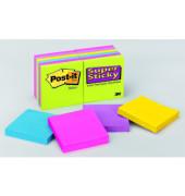 Haftnotizen SuperSticky 76 x 76mm 5-farbig sortiert 12 x 90 Blatt