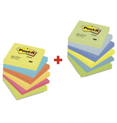 Haftnotizen Sparpack Active & Dreamy 76 x 76mm 6-farbig sortiert 12 x 100 Blatt