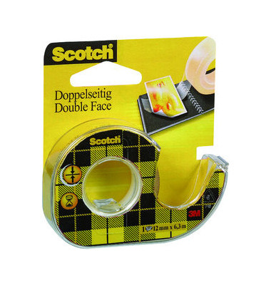 scotch klebeband doppelseitig 665 12mm x 6 3m transparent im abroller. Black Bedroom Furniture Sets. Home Design Ideas