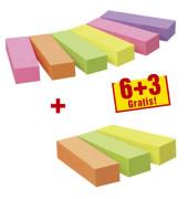 Haftstreifen Page Marker 6+3 gratis neon sortiert 5-farbig 9x100 Bl
