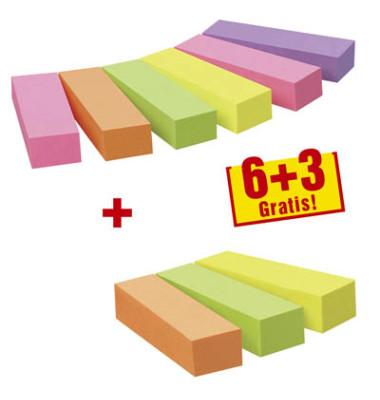 Index Haftstreifen Page Marker 6+3 gratis neon sortiert 5-farbig 9x100 Bl